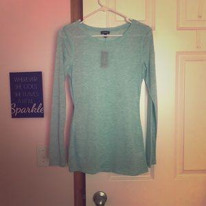 Aqua long sleeve shirt from Express